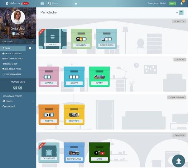 Nella schermata iniziale del tuo profilo puoi tenere sotto controllo tutta la tua casa digitale. Ordina i tuoi ricordi creando nuove memoteche e metti al sicuro i tuoi segreti all'interno del baule e della cassaforte.