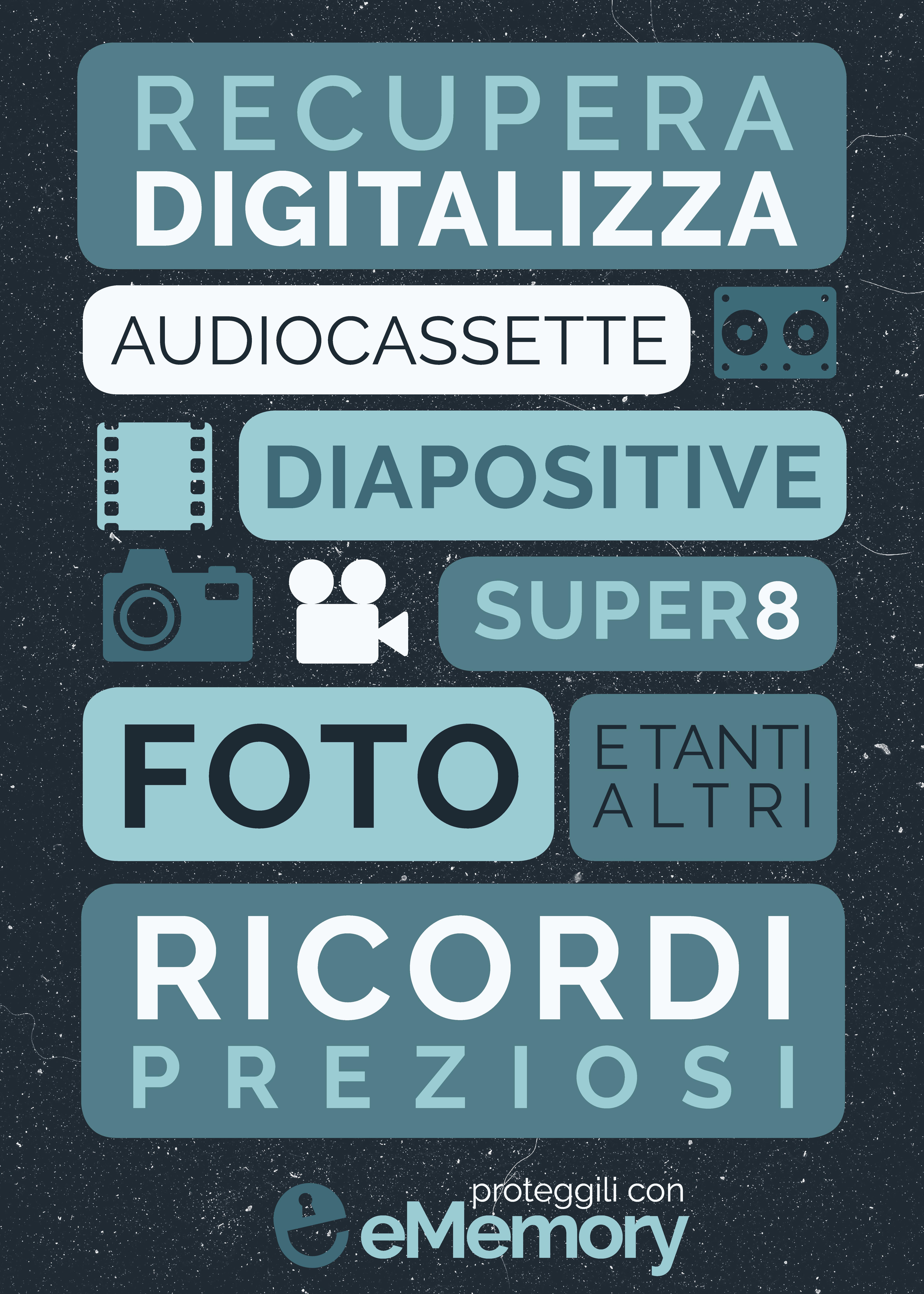 Recupera e digitalizza foto, diapositive, Super8, audiocassette e tanti altri ricordi preziosi. Proteggili con eMemory